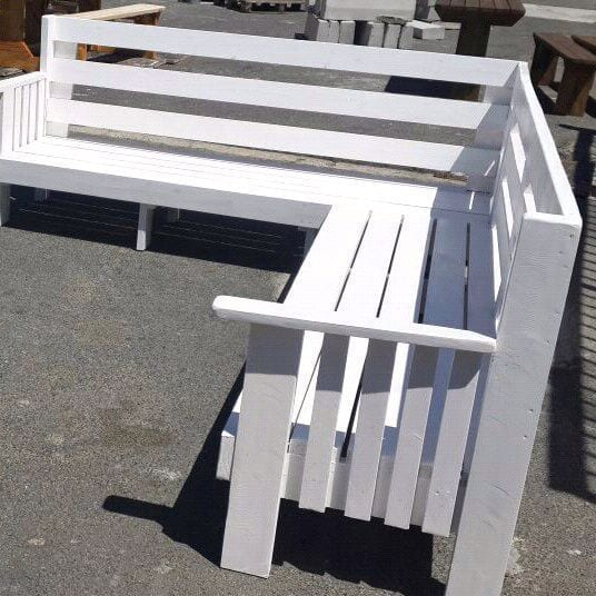 L Shape Garden Furniture Garden Bench Patio Bench Outdoor Furniture White