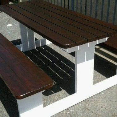 ebony and white pine picninc table in cape town