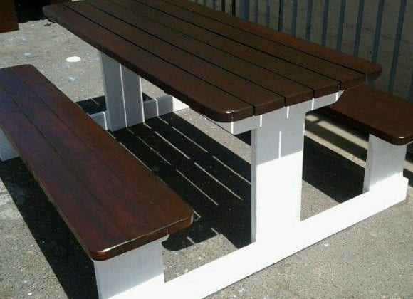 Ebony and White Picnic Table
