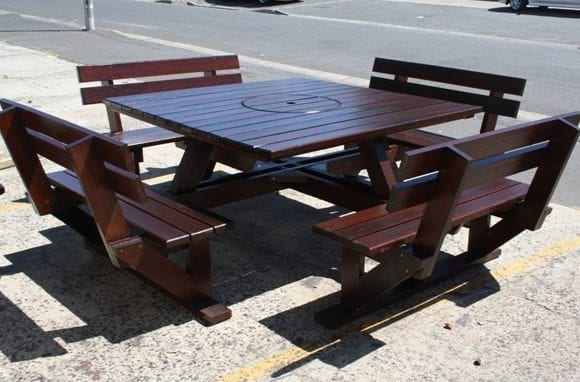 Teak Square Table and benches