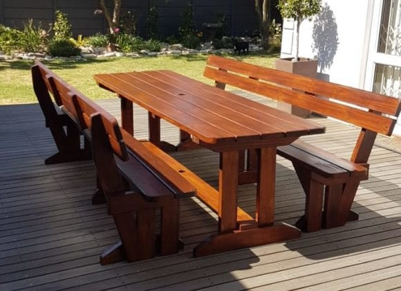 Teak Table with benches and backrests