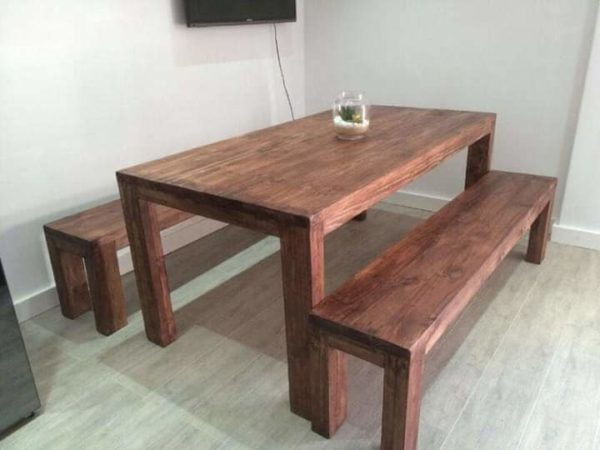 dining table with two benches in teak