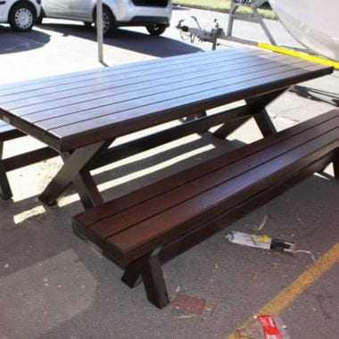 Jenna Mahogany Outdoor Dining Table and Benches